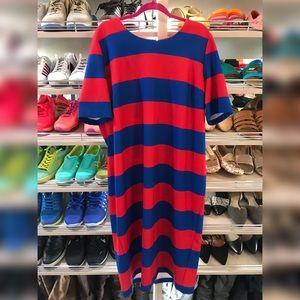 Eloquii Red & Navy Striped Dress